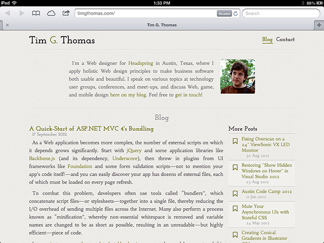 My site, running on Mobile Safari.