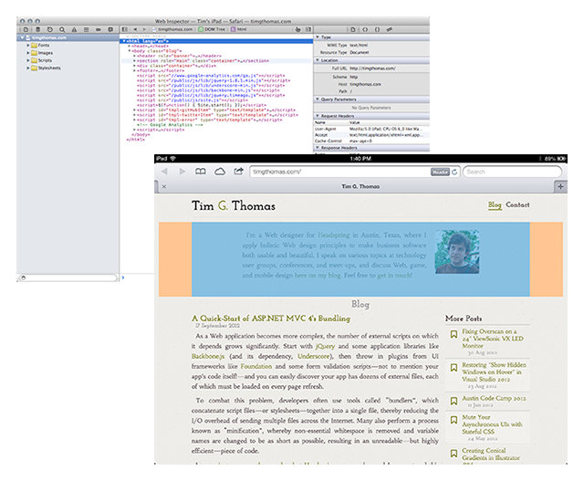 Hover over an element in the Web inspector, and see it highlighted on your iOS device!